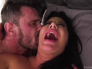 Ebony haired mummy with fat boobies is boinking a fortunate stud, instead of her economize on
