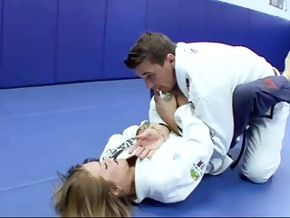 Ultra-Kinky Karate college girls smashes with her trainer after a spectacular karate session