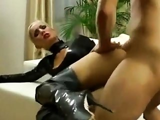 Blonde latex amateur fucked