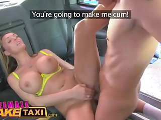 Overwhelming light-haired demoiselle is working as a cab driver and regularly getting pounded on their way car