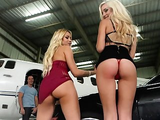 Blonde bitches fucked hard on a at arm's length dark