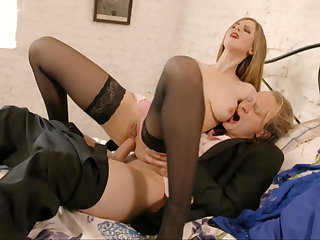 Big-busted blonde rides cock in a hot anal video