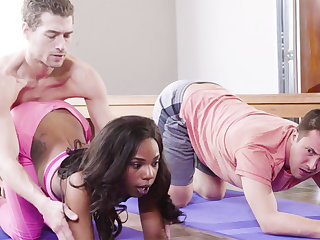 Horny jet babe fucks her yoga instructor and her helpmate