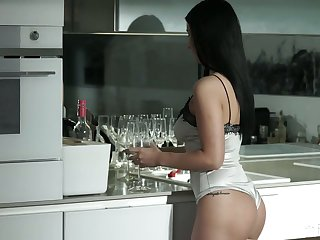 Leggy with the addition of nicely shaped dark haired beauty Nelly Kent is analfucked doggy
