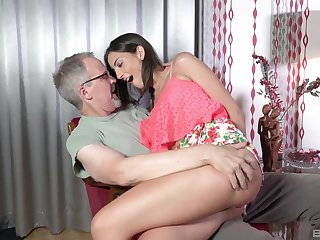 Teen babe Miky Love bent quit coupled with pounded wide of an patriarch guy