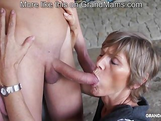 Horny old cougar tapes up their way young toyboy and sucks him gone