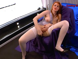 Blistering redhead takes dick in a lusty gangbang