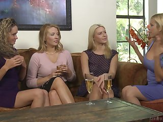 Seductive blonde bull dyke Prinzzess licks Shauna Skye's shaved pussy