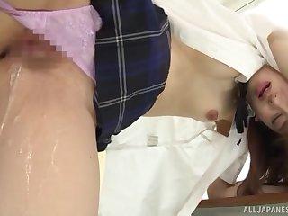 Japanese schoolgirl in hard scenes of sex at cram