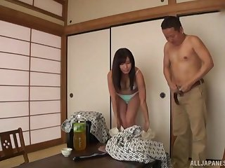 stunning asian adores pussy licking before a sacristan on the floor
