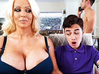 Bosomy stepmom interested with regard to taste schoolboy's dick