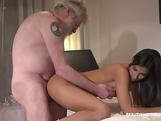 Bearded old impoverish eats wet pussy delicious pussy of beloved Angela Allison