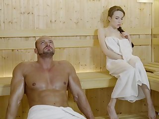 Russian gal with braided hair and large mammories got drilled in get under one's sauna, until she came