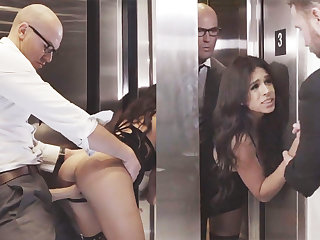 Sneaky GF cheating with her big-dicked queen in an elevator