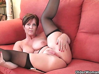 British milf Joy exposing her chunky tits and hot fanny
