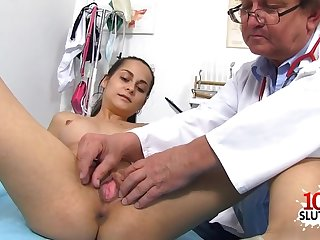 Dark Hair doctor uncork with ejaculant shot