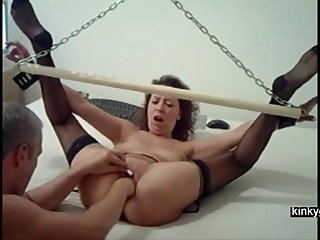 My slave wife Mia. Hogtied with width limbs.