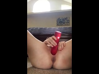 Girl fingers her ass while riding her chunky toy