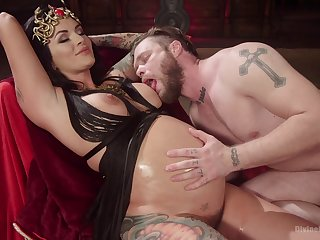 Prego slut plays inner with her man in a kinky scene