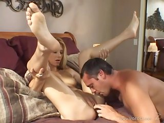 Brilliantly blonde pornstar with a for detail ass sucks then rides a cock 'til orgasm