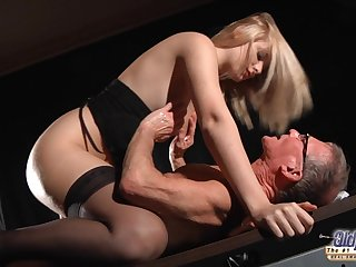 Naughty slut Charlize Bella in old and young fuck session fro cumshot