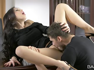 Unperturbed hottie Sasha Rose licked and dicked at the office