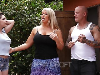 Keira Croft seduces bald headed day of whorish mammy Alura Jenson