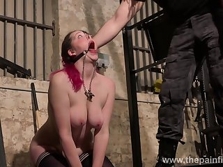 Submissive bosomy whore Alora Lux deserves bondage and some fun in hard mode