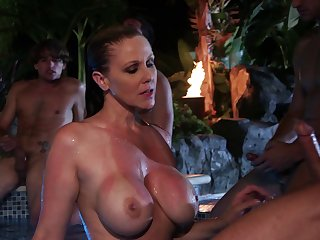 Outdoor duck sucking by the pool respecting cum roughly mouth be required of Julia Ann