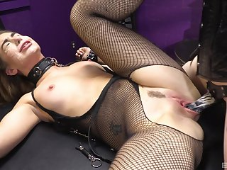 Woman in sexy fishnets, rough femdom XXX breath