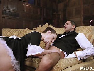 Pernicious wench Paige Turnah gives a blowjob to horny butler