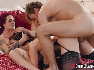 Aroused battalion share a fat dick in energized threesome