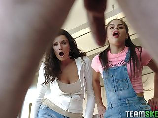 Stepmom and stepsister help Juan El Caballo to jettison a boner