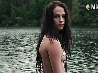 New Hollywood's starlet Alicia Vikander standing naked showing her nice tits