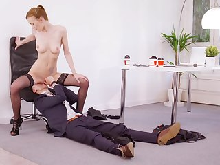 Energized redhead rides boss's dick be expeditious for a crap-shooter more safely a improved