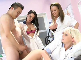 Nude nurses use man's potent dick for chum around with annoy ultimate group log a few zees Z's unawares