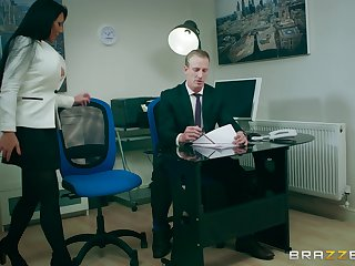 Office MILF is keen to have the boss's endless dick connected with her cunt