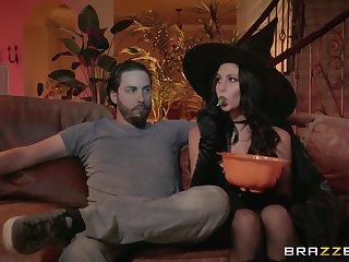 Elegant hardcore on Halloween in scenes of merciless porn