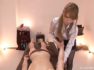 POV video of kinky Tia giving a learn of knead to the brush client