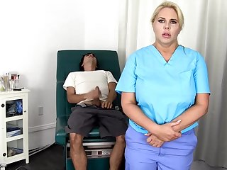 Sensuous, blondie nurse is using every chance to obtain screwed, if she is convenient work