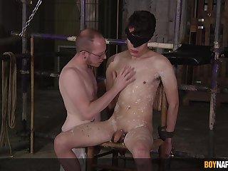 Twink endures waking in submissive bareback BDSM