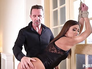 Duteous slut Alyssa Reece tied up and ass fucked at the end of one's tether her BDSM master GP1270